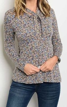 New Tie Neck Floral Print Peasant Blouse Fashion Stylish Chic Long Sleeve Top #Fashion #Blouse #Career