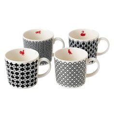 Set of 4 Royal Doulton Charlene Mullen Accent Mugs - Royal Doulton 200 Years - Royal Doulton