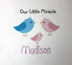 Bird Personalized Our Little Miracle Onesie Little by PolkaDautz, $16.00
