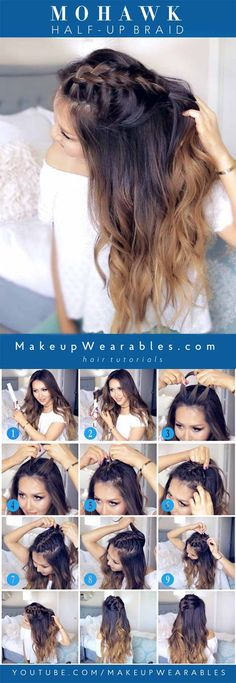Best 5 Minute Hairstyles - Mohawk Half Up Braid - Quick And Easy Hairstyles For Shoulder Length Hair