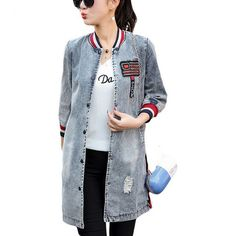 a9b95fdc52b Fashion Autumn Women Casual Vintage Denim Jacket Female Jacket Coat Long  Sleeve Jeans Outerwear Jacket Coats Mujer Plus Size. Jessika s Tops