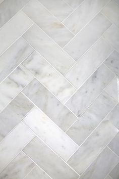 This: Herringbone Marble Tile (A Beautiful Mess) Try This: Herringbone Marble Tile (A Beautiful Mess).Photo from Katharina KayTry This: Herringbone Marble Tile (A Beautiful Mess).Photo from Katharina Kay Bathroom Floor Tiles, Kitchen Tiles, Kitchen And Bath, Tile Bathrooms, Bathroom Marble, Small Bathrooms, Shower Floor, Shower Stalls, White Bathroom