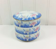 OMC Porcelain Jubako Bento Stacking Boxes, 3 Tier Bowls with Lid in Blue Pink Iris Design by #naturegirl22   #natureswalkvintage