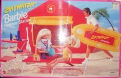 Barbie Baywatch Rescue Station Playset (1994) Retired by Mattel. $94.98. 1994 Retired TV Show Baywatch Rescue Station Playset complete with the following:tent, table, chair, cot, binoculars,stethoscope,bandages, medicine bottles, blood pressure measuring instrument, portable phone raft, oars and turtle