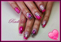 It`s all about nails: Hot pink with Sparkling heart & swirls http://radi-d.blogspot.com/2015/01/hot-pink-with-sparkling-heart-swirls.html