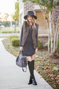 Sweater Dress , faux fur vest, over the knee boots | Little Blonde Book