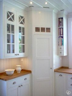 Corner pantry in White, scandinavian kitchen. I love the narrow shelves for book. Corner pantry in Corner Pantry Cabinet, Corner Kitchen Pantry, Kitchen Ikea, Kitchen Pantry Design, Kitchen Pantry Cabinets, Kitchen Storage, Cabinet Storage, Kitchen Decor, Cabinet Closet