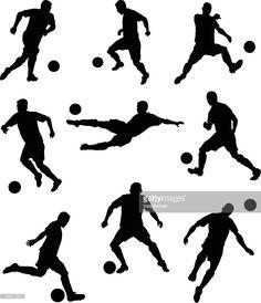 Arte vectorial : Conjunto de siluetas de los jugadores de fútbol