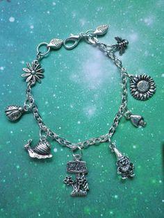 Gardening Gnome Flower Charm bracelet by lotusfairy on Etsy, $35.00