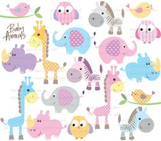 Baby Animals Clip Art Cute Baby Shower Pastel Elephant Giraffe Owl Bird Rhino Zebra Clipart Illustrations Instant Download 10421