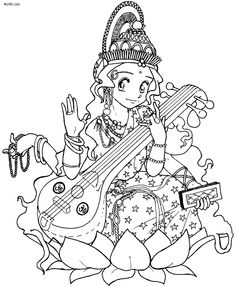 Previous Saraswati Puja Coloring Pages Cool Sketches, Art Drawings Sketches, Easy Drawings, Free Coloring Pages, Coloring Books, Ink Pen Art, Saraswati Goddess, Fun Activities For Kids, Learn To Draw