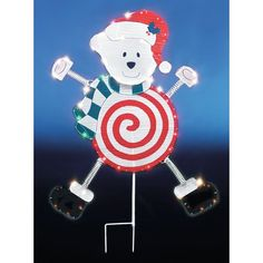41 Frosty Dangler Candy Polar Bear Lighted Christmas Yard Art by Brite Star. $34.99. Frosty Dangler Polar Bear Lighted Christmas Yard Art Frosty Dangler lighted silhouetteFeatures a peppermint candy polar bear with Santa hat and scarf70 mini lightsSafety fuse plugSelf hanging ring and sturdy shepherd's hook includedBulbs are easy to replaceOne year manufacturer guaranteePlug in, UL Listed for indoor/outdoor useMaterials: Metal, PVC, glassApproximate measuremen...