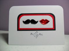 Handmade Wedding Card - Mustache and Lips Wedding Card - Mr.  Mrs. Card - Red OR Pink