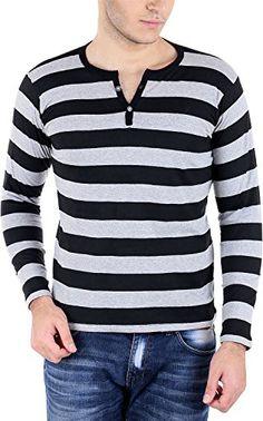 Bigidea Grey-Black Striped Henley T-Shirt - http://weddingcollections.co.in/product/bigidea-grey-black-striped-henley-t-shirt/