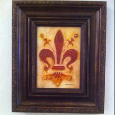 """Fleur de Lis"" Acrylic & Plaster - Hand crafted 5x7"" acrylic painted plaster relief in red and yellow with embedded stone accents. $50"