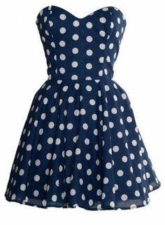 Pin-Up Blue Polka Dot Prom Party Dress