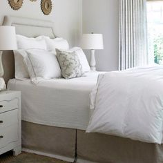 Amazing bedroom with gray walls paint color gray linen headboard with silver nailhead trim gray bed skirt gallery of gold sunburst mirrors.  Double tab for more images.  #fortheloveoflinen#bedlinen #tellmemore #interior4all #linenbedding #purelinen #linen #purelinenutrition #shabbychicbedding #farmhouse #farmhousestyle #farmhousedecor  #cottagestyle #cottageliving #farmhousebedding  #rufflebedding #ruffles #ruffleswithlove #interiordecor #bedroomdecor #bedroominspiration #handmade…