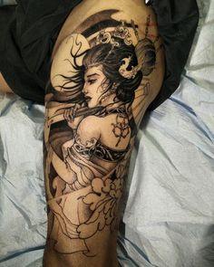Geisha leg sleeve in progress #geisha #chronicink #asianink #tattoo #irezumi #irezumicollective #asiantattoo #artgatheringla