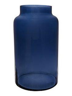 Navy glass large vase
