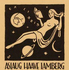 Exlibris by Albert Jaern for Aslaug Haave Lamberg