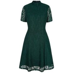 Yumi Green floral print lace high neck dress ($53) ❤ liked on Polyvore featuring dresses, floral print dress, floral lace dress, floral dress, short sleeve floral dress and vintage style dresses