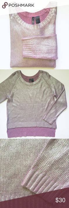 "Metallic Purple Sweater Light purple lilac color with a silver metallic finish • hi-lo style • length of front 23"", back 27"" • ribbed trim along neckline, hems of sleeve and bottom hem • Accepting reasonable offers! Sweaters"