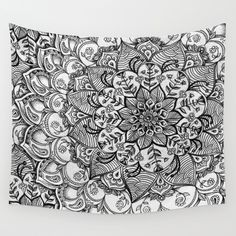 Shades+of+Grey+-+mono+floral+doodle+Wall+Tapestry+by+Micklyn+-+$39.00