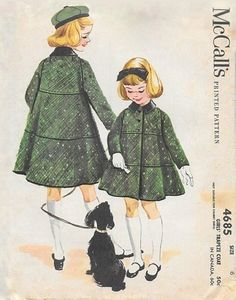 McCall's 4685 © 1958. Considered by some experts to be an unmarked Helen Lee design. Vintage Kids Clothes, Vintage Girls, Vintage Children, Vintage Dresses, Vintage Outfits, Vintage Fashion, Childrens Sewing Patterns, Mccalls Patterns, Vintage Sewing Patterns