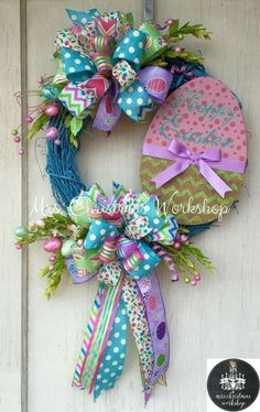 Easter Sale off Easter wreath Grapevine wreath Easter egg wreath bunny wreath Easter Wreaths, Holiday Wreaths, Holiday Crafts, Spring Wreaths, Holiday Decor, Summer Wreath, Christmas Decor, Easter Projects, Easter Crafts