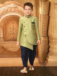 Shop Light green party wear textured pattern indo western online from India. Traditional Dress For Boy, Mens Traditional Wear, Boys Party Wear, Kids Wear Boys, Party Wear For Mens, Kids Blouse Designs, Mens Kurta Designs, Wedding Dress For Boys, Sherwani For Boys