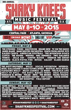 Shaky Knees Music Festival 2015 Daily Lineups