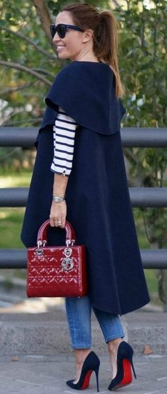 #fall #trending #outfits | Long Vest + Stripes + Pop Of Red