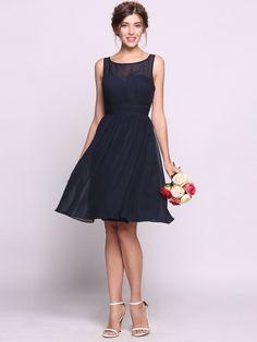 Women A-Line/Princess Scoop Neck Knee-Length Chiffon Bridesmaid Dress With Ruffle