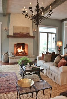 Fireplace and rugs