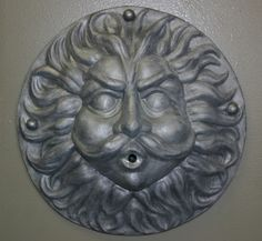 One of our larger fountain masks, Father Wind is made of lead, with nice detailing. Piped for fountain use. Imported from England. To learn more about the h Garden Ornaments For Sale, Mixed Media Artwork, New England, Lion Sculpture, Father, Statue, Wall Fountains, History, English