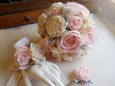 Shabby Chic Soft Pink Wedding Bouquet Wrist Corage by PapernLace