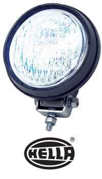 """HELLA® Standard Work Light  Our Most Popular Work Light  • Powerful, rugged and priced right  • Tempered glass lens  • Weatherproof, shock-resistant rubber housing  • Flood light pattern for an even, widespread beam  • Prewired light has single bolt mount with swivel  • 4.75"""" dia. x 3"""" deep"""