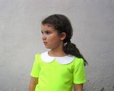 The Rosie Dress - Girls Dress in Neon Yellow - White Peter Pan Collar - Modern Indie Kids Back to School Fashion (READY TO SHIP Size 6T). $88.00, via Etsy.