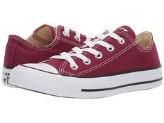 Converse Ox All Star Chucks White Burgundy (Maroon) Mens Womens Shoes All Sizes - Converse Shoes for Women - Ideas of Converse Shoes for Women Converse Shoes Price, Converse Ox, Maroon Converse, Custom Converse, Vans, Red Sneakers, Slip On Sneakers, Canvas Sneakers, Converse Chuck Taylor All Star