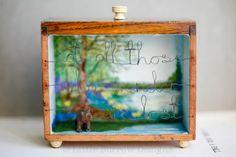 """The Wanderer"" (summer version) storybox sculpture. Vintage upcycled artwork by Little Burrow Designs, Claire Read.  Upcycled / recycled /reworked vintage sculpture. Textiles, embroidery, mixed media, assemblage, wirework, tin art, altered tin art, reuse, repurpose, handmade, reclaim , relove, bear, travelling, traveller, wandering, adventure, nostaglia, shadowbox, art, craft, devon.  www.littleburrowdesigns.co.uk www.facebook.co.uk/littleburrowdesigns"
