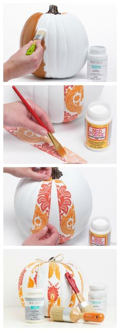 DIY Painted Waverly Fabric Halloween pumpkin. Mod podge some fabric onto a plastic/foam craft pumpkin.