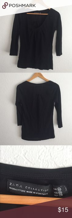 Zara black 3/4 sleeve tee V neck, like new! So soft  💠Bundle to save 20% off 💠No trades, Offsite transactions, or holds 💠If measurements are not listed, I will gladly take them for you. Thank you for stopping by  Thrifterista's  🔶Suggested user• Posh Party Host• 3,200+ sales🔶 Zara Tops