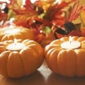 pumpkin candles, beautiful for a fall wedding or an elegant fall dinner party