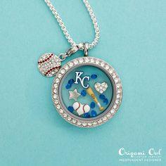 Origami Owl MLB Kansas City KC Royals baseball charm locket necklace