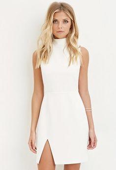 Contemporary Slit-Front Scuba Knit Dress | Forever 21 - 2000145915