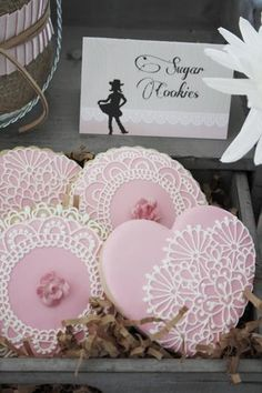 Biscuits with lovely lace pattern from bride's dress :)