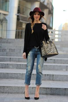 Great looks with boyfriend jeans, from very chick and sophisticated to urban elegant or casual. Also ideas how to add accessories to boyfriend jeans. Street Style Outfits, Fall Fashion Outfits, Mode Outfits, Look Fashion, Autumn Fashion, Womens Fashion, Fashion Trends, Winter Outfits, Fashion Casual