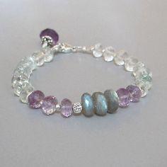 Aquamarine Amethyst Labradorite Bracelet Sterling Silver Bead Gemstone DJStrang…