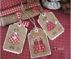 Use my stamps for tags Christmas Sewing, Christmas Gift Wrapping, Handmade Christmas, Christmas Crafts, Christmas Decorations, Christmas Ornaments, Christmas Ideas, Christmas Tree, Gingerbread Christmas Decor