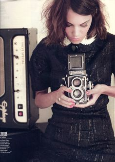 Alexa Chung and a Rolleiflex - shot for INStyle magazine. } Shooting Film: Interesting Portraits of Celebrities with Rolleiflex TLR Cameras